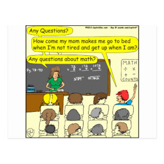 353 Any questions about math color cartoon Postcard