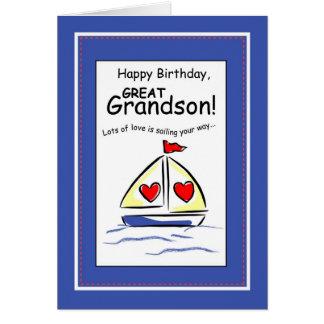 3541 Great Grandson Religious Sailboat Birthday Card