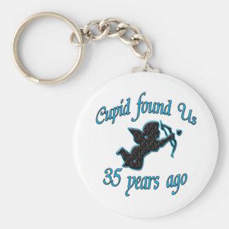 35. Anniversary Basic Round Button Keychain