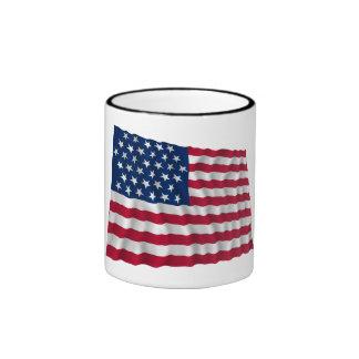 35-star flag, Beehive pattern Ringer Mug