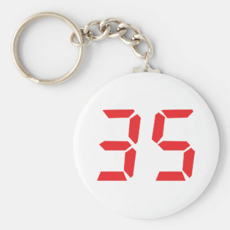 35 thirty-five red alarm clock digital numbr keychain