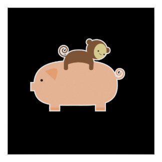 "35"" x 35"" Baby Monkey Riding on a Pig Poster"