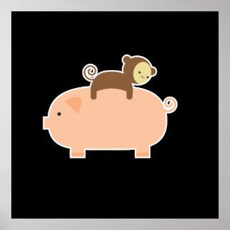 """35"""" x 35"""" équitation de singe de bébé sur un porc poster"""