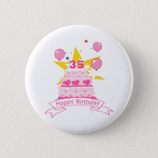 35 Year Old Birthday Cake 2 Inch Round Button