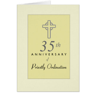 35th Anniversary of Priest with Embossed Cross, Re Card
