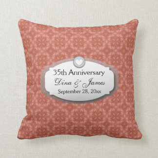 35th Anniversary Wedding Anniversary Coral Z22 Throw Pillow