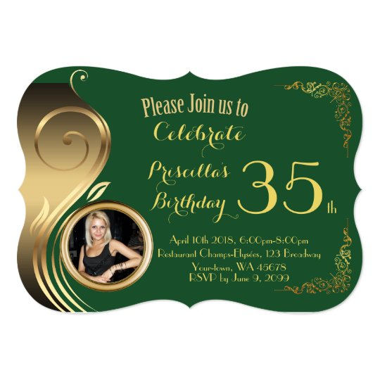 35th,any age Birthday Invitation PHOTO,Gatsby styl
