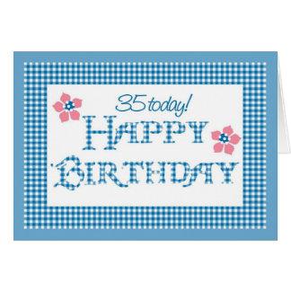 35th Birthday, Blue Check Gingham Pattern Card