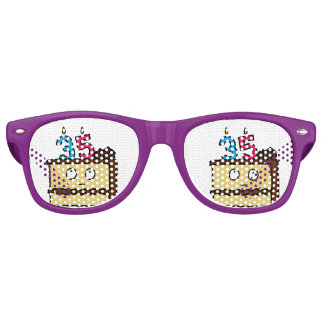 35th Birthday Cake with Candles Party Shades