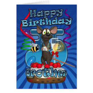 35th Birthday Card For Brother - Funky Mouse On A