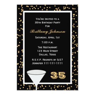 35th Birthday Party Invitation 35 and Confetti