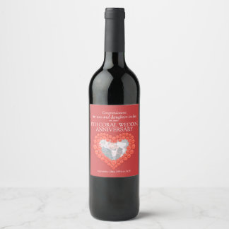 35th coral heart anniversary custom wine labels