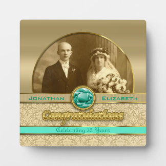 35th Emerald Wedding Anniversary Gem Damask Photo Photo Plaque