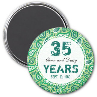 35th Jade Wedding Anniversary Paisley Pattern 3 Inch Round Magnet