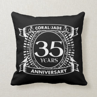 35th wedding anniversary Coral Jade crest Throw Pillow