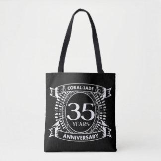 35th wedding anniversary Coral Jade crest Tote Bag
