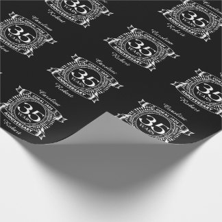 35th wedding anniversary Coral Jade crest Wrapping Paper