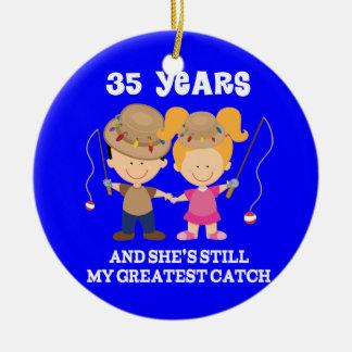 35th Wedding Anniversary Funny Gift For Him Ceramic Ornament