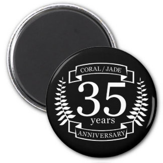 35th Wedding ANNIVERSARY JADE / CORAL 2 Inch Round Magnet