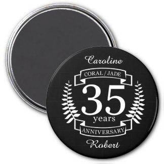 35th Wedding ANNIVERSARY JADE / CORAL 3 Inch Round Magnet