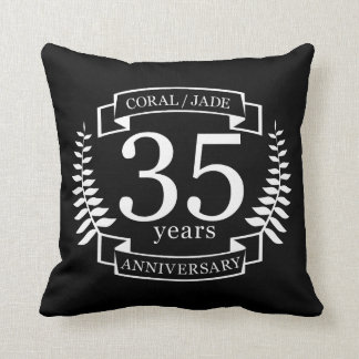 35th Wedding ANNIVERSARY JADE / CORAL Throw Pillow