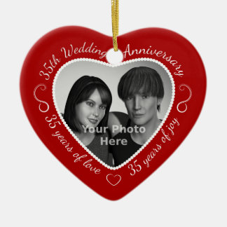 35th Wedding Anniversary Photo Double-Sided Heart Ceramic Christmas Ornament