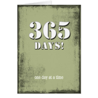 365 Days Clean Sober Birthday Card