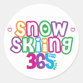 365 Snow Skiing Classic Round Sticker