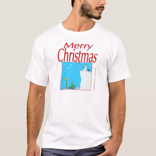 366 Merry Christmas polar bear fishing for elf T-Shirt