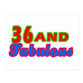 36 and Fabulous Birthday Designs Postcard