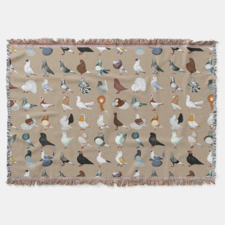 36 Pigeon Breeds Throw Blanket