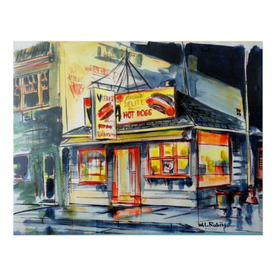 "36""x24"" Red Hot Ranch Watercolor Chicago Poster"