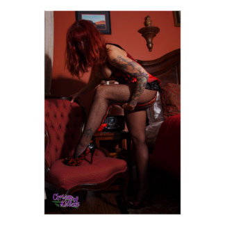 "36"" x 24"", Chrissy Kittens Red Room Poster"