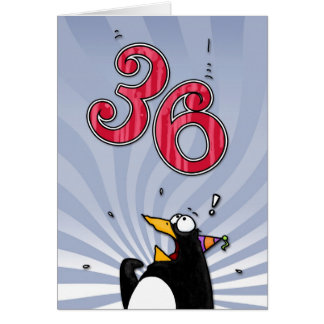36th Birthday - Penguin Surprise Card