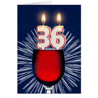 36th Birthday with wine and candles Card