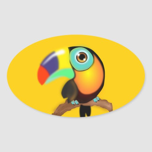 3742-tucan-colombiano-vector COLORFUL TROPICAL CAR Oval Stickers