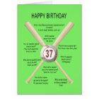 37th birthday baseball jokes card
