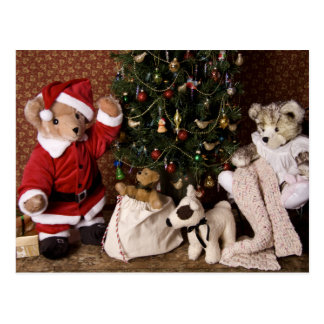 3806 Teddy Bear Santa Christmas Postcard