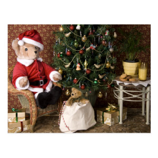3827 Teddy Bear Santa Christmas Postcard