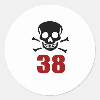 38 Birthday Designs Classic Round Sticker