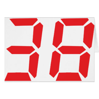 38 thirty-eight red alarm clock digital number card