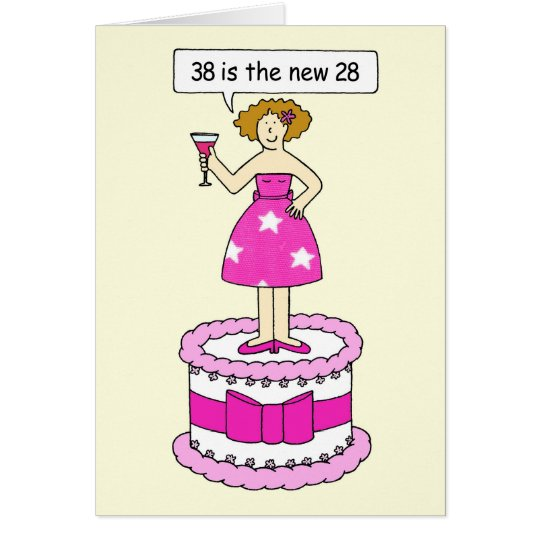 38th birthday age humour, lady on a giant cake. card