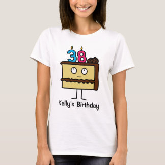 38th Birthday Cake with Candles T-Shirt