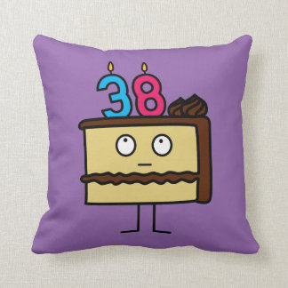 38th Birthday Cake with Candles Throw Pillow