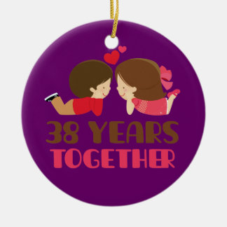 38th Wedding Anniversary Gift For Her Round Ceramic Ornament