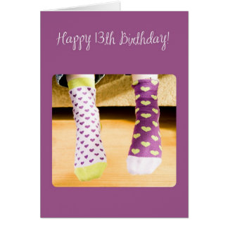 3922 Crazy Socks, 13th Birthday Card