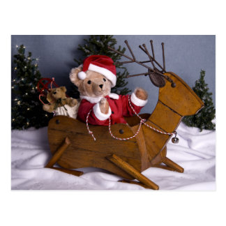 3975 Teddy Bear Santa Christmas Postcard