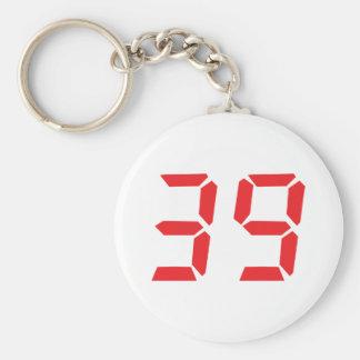 39 thirty-nine red alarm clock digital number keychain