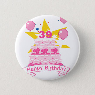 39 Year Old Birthday Cake 2 Inch Round Button