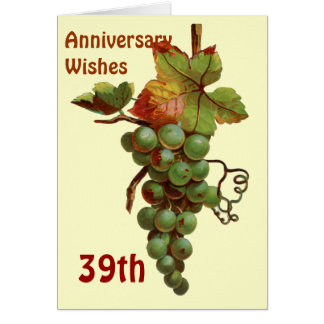 39th Anniversary wishes, customiseable Card